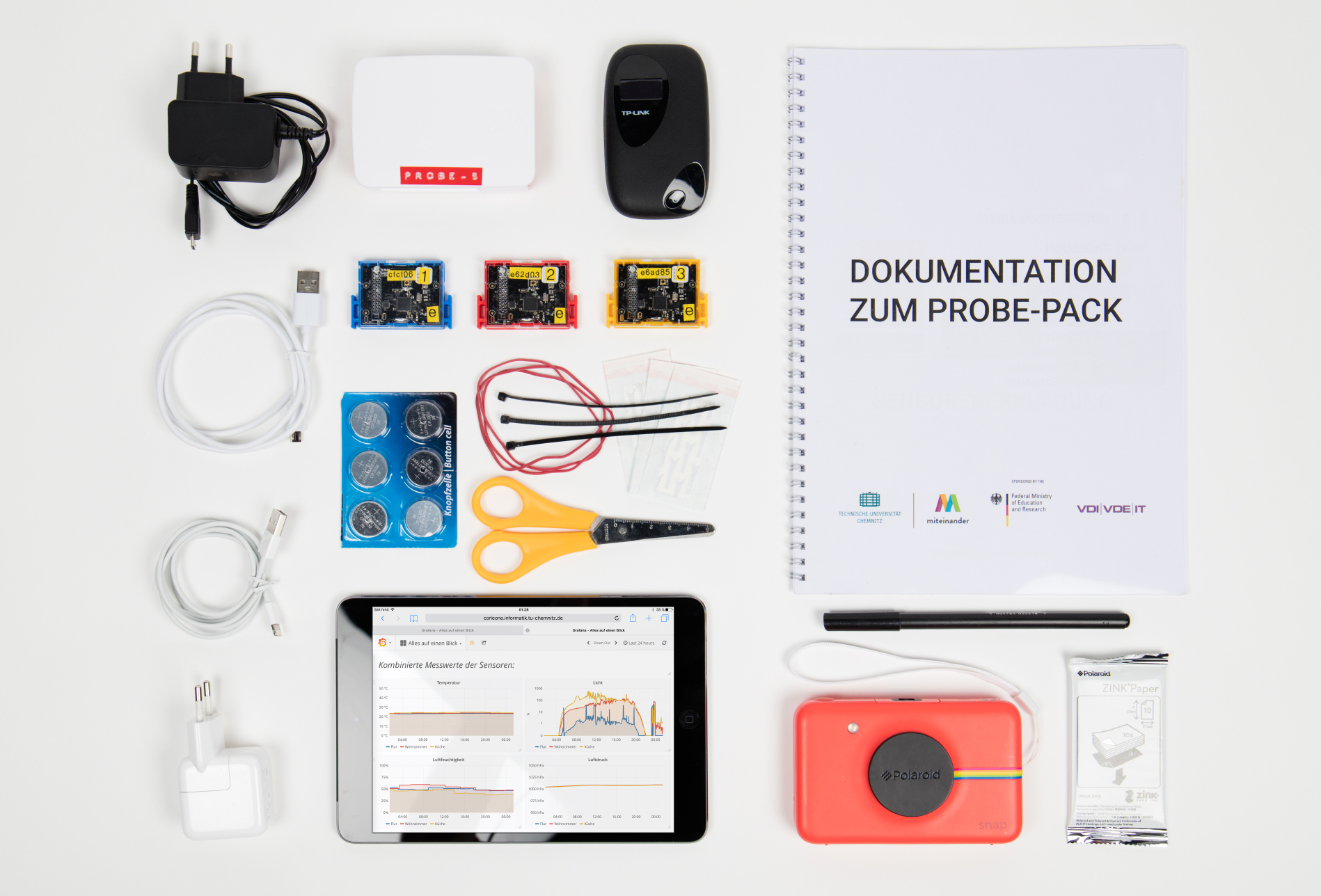 Inhalt unseres Sensing Home Probe Packs.