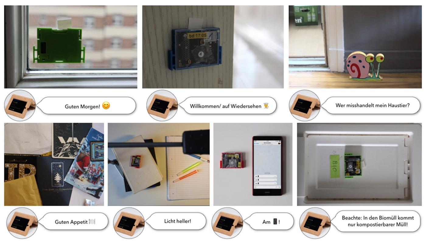 Die Grafik zeigt ausgewählte Anwendungsszenarion der Sensorstation. Links oben klebt ein SensorTag an einem Fenster und misst die Lichtstärke. Die Sensorstation sendet die Nachricht: 'Guten Morgen! ????'. In der Mitte ist ein blauer SensorTag an einem Türrahmen der Küche abgebildet. Die Sensorstation sendet die Nachricht: 'Willkommen/ auf Wiedersehen ?????????'. Rechts oben ist die Schnecke 'Gary' aus 'Spongebob Schwammkopf' abgebildet. Die Sensorstation misst Vibration und sendet: 'Wer misshandelt mein Haustier?'. Links unten ist ein SensorTag am Kühlschrank versteckt. Die Sensorstation sendet: 'Guten Appetit'. Die Abbildung daneben zeigt einen SensorTag auf dem Schreibtisch. Die Sensorstation sendet die Nachricht: 'Licht heller!'. Die nächste Abbildung zeigt einen roten SensorTag neben einem Smartphone. Die Sensorstation sendet: 'Am Smartphone.' Die Abbildung rechts unten zeigt einen grünen SensorTag auf dem Mülleimer. Die Sensorstation sendet: 'Beachte: In den Biomüll kommt nur kompostierbarer Müll!'
